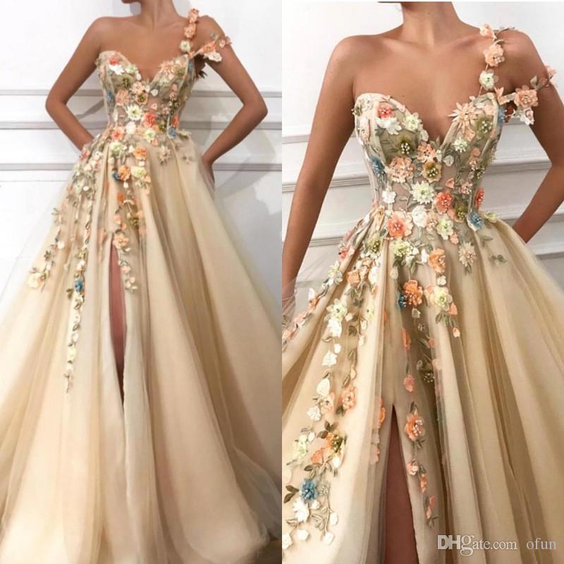 5d244d159875 2019 One Shoulder Tulle A Line Long Evening Dresses Lace Applique ...