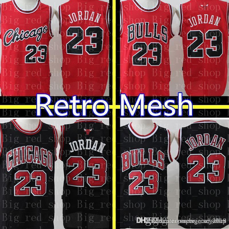low priced d5202 1b804 23 Michael Chicago Bull Jersey Retro Mesh Black Red White Green Embroidery  Basketball Jerseys Cheap wholesale