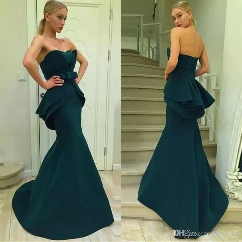 76ac079e217 2019 Elegant Girls Prom Tube Dresses Mermaid Sweetheart Neckline Peplum  Trumpet Ink Blue Satin Women Evening Party Dresses Cheap Size 18 Prom  Dresses ...