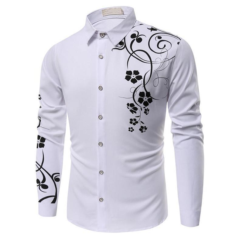 Camicia vintage stampata a fiori Costume uomo maturo da uomo festa di nozze Colletto rovesciabile Camicie uomo Camicie maniche lunghe Abbigliamento