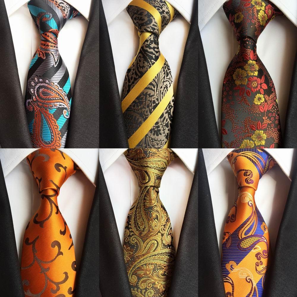 Nouveau Hommes Argent Rayé Cravate en soie