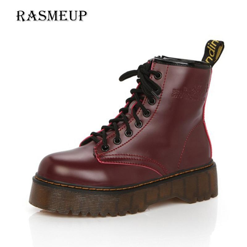 a2e457217e0 RASMEUP Leather Women s Martin Boots 2018 Autumn Thick Sole Lace Up Zipper  Women Ankle Boots Casual Comfort Woman Platform Shoes