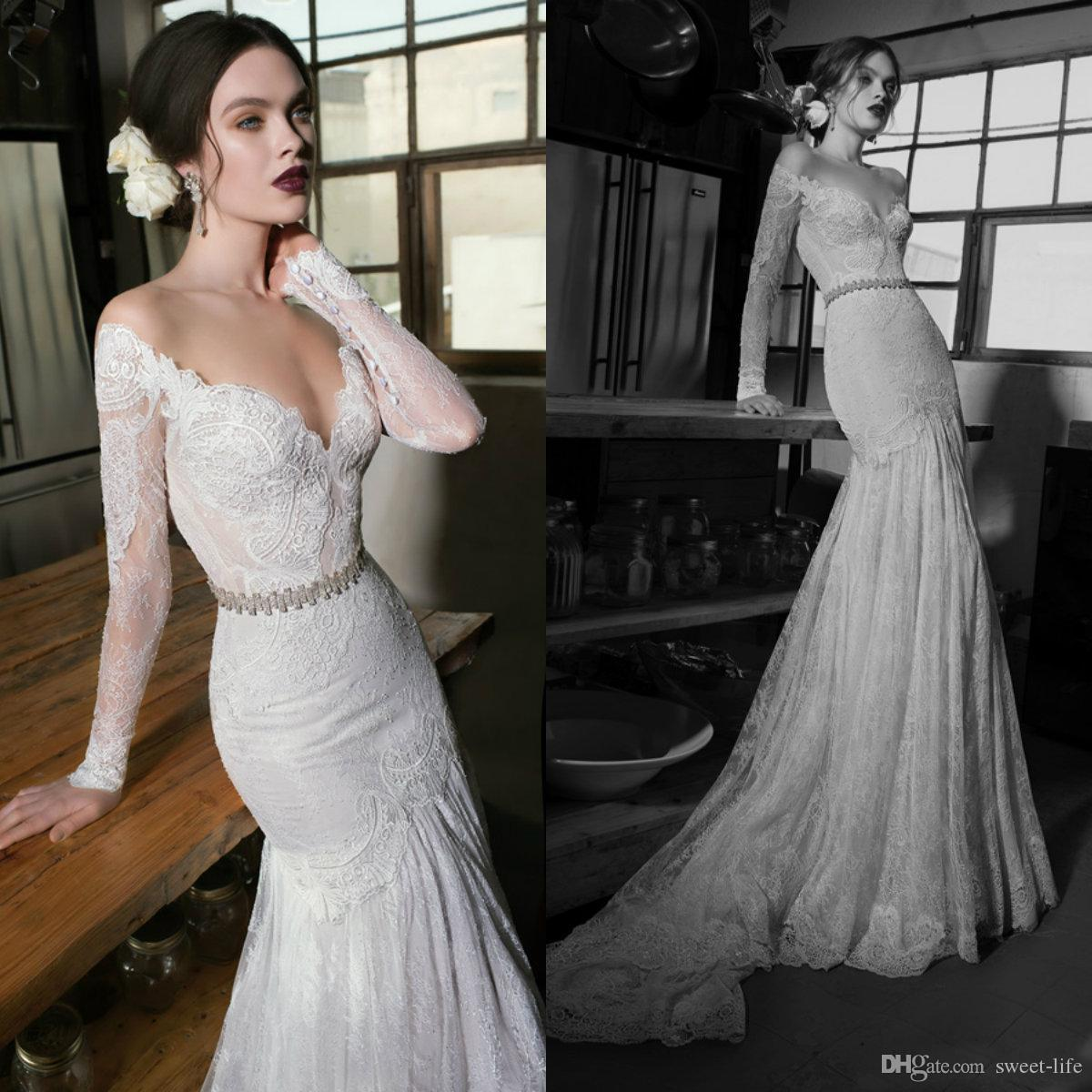 Long Sleeves Berta Cheap Wedding Dresses Bridal Gowns Sheer Jewel Neck Sweep Train Boho Mermaid Maxi Dress Lace Bride Gown robe de marriage