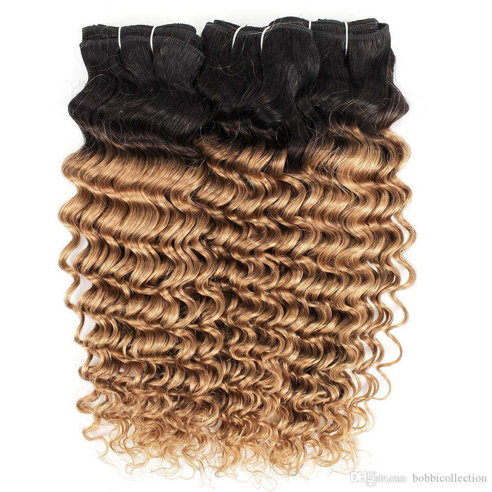 3 Bundles Ombre Brazilian Hair Weave Bundles T 1B 27 Dark Root Honey Blonde Deep Curly Human Hair Extension