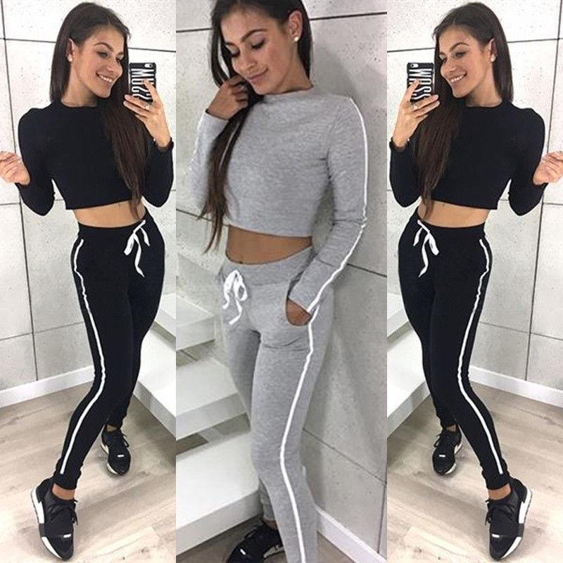 2018 Brand Fashion 2Pcs Women Tracksuit Hoodies Sweatshirt Pants Set Wear Casual Suit Sweats Outwear Long Sleeve Cotton Clothing