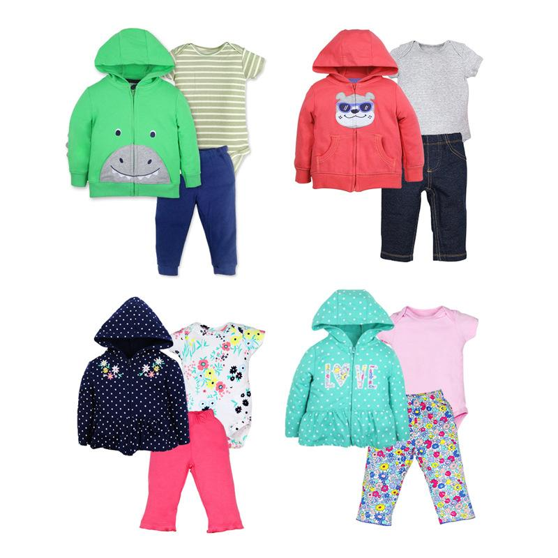 66724ad72507 2019 Baby Setscotton Hooded Zipper Coat Short Sleeves Bodysuits ...