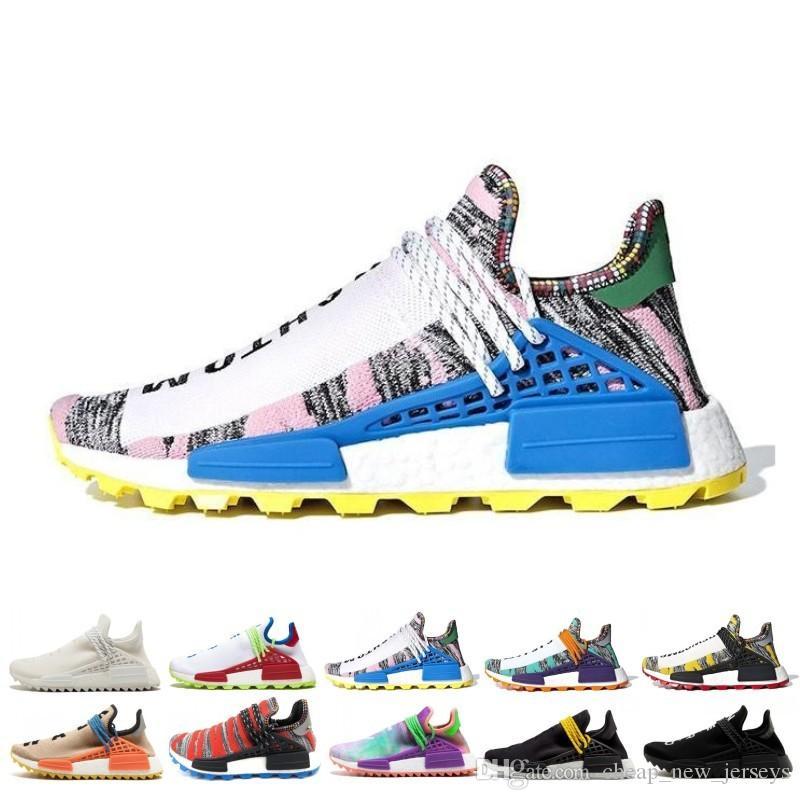 finest selection 09648 1d3e5 New Human Race trail Running Shoes Men Women Pharrell Williams HU Runner  Yellow Black White SOLAR PACK Nerd blue sport runner sneaker