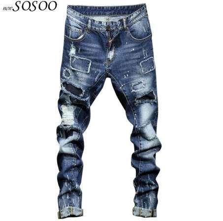 b89264583 2018 nuevos jeans rotos para hombres, miedo de Dios, algodón y denim. Jeans  de moda de estilo americano y europeo hombres # 1712