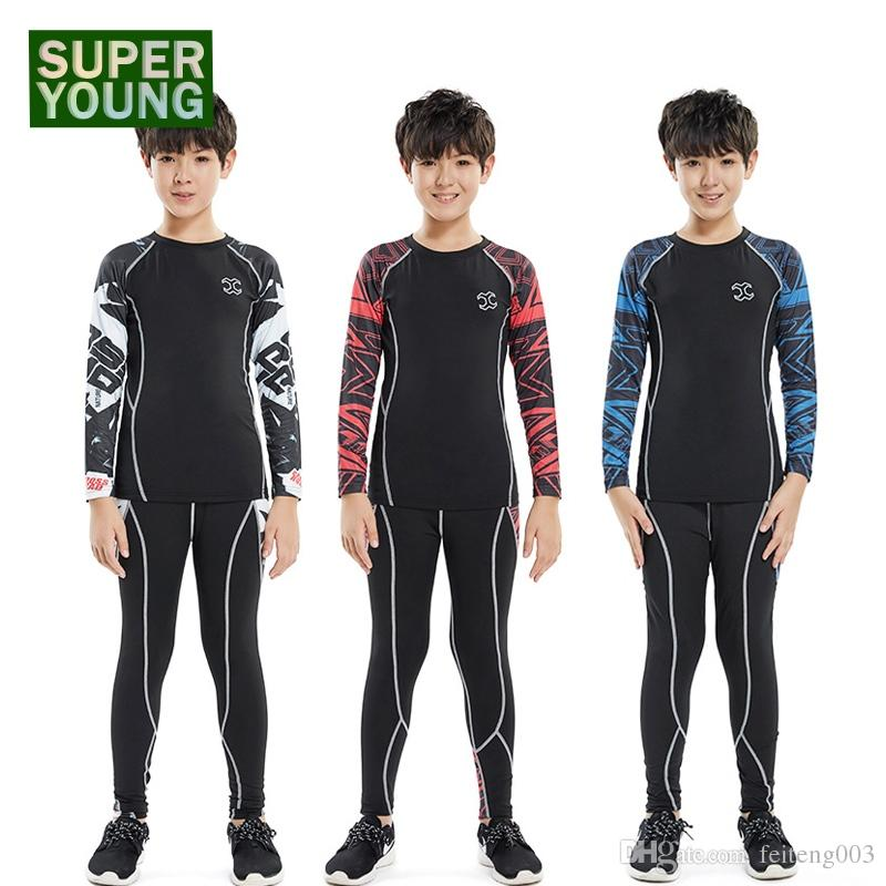 74c6f040e677 2019 Men Boy Gym Wear Fitness Tights Sportswear Children Running Basketball  Training Jogging Suit Kids Sport Compression Clothing Set #796573 From ...