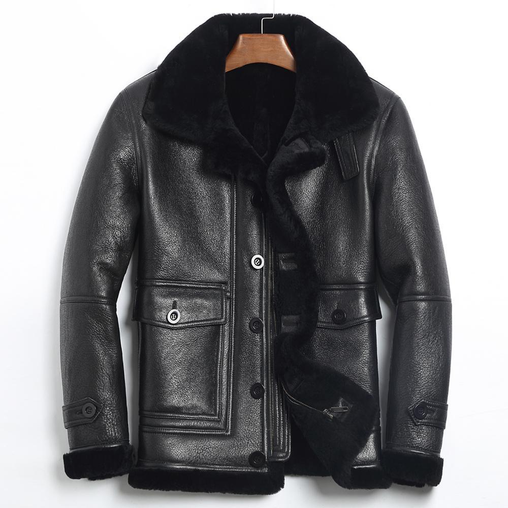 Giacca in vera pelle da uomo giacca invernale pelliccia naturale vera pelle di pecora cappotto per gli uomini giacca in pelliccia di agnello bomber