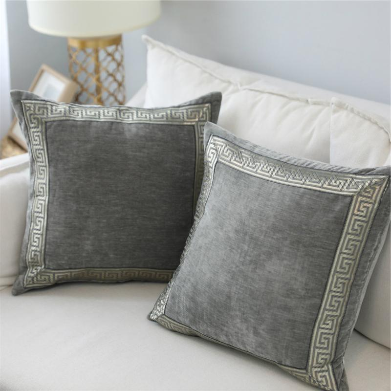 Fabulous Velvet Grey Blue Cushion Cover Embroidered 45X45 60X60Cm Home Decorative Pillows For Sofa Bed Soft Throw Pillow Case Funda Cojin Onthecornerstone Fun Painted Chair Ideas Images Onthecornerstoneorg