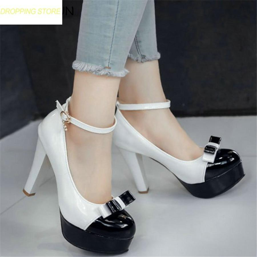 1000f48384b Womens Patent Leather Ankle Strap Very High Heels Round Toe Platform Party  Pumps Summer Casual Fashion Shoes Hot Buy Shoes Online Wedge Boots From  Facebooks ...