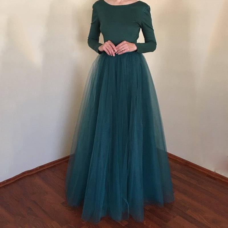 53e727231 2018 Nueva llegada Puffy Falda Maxi Falda de tul Elástico largo para mujer  Faldas de talle alto Enagua de dama de honor para el banquete de boda ...
