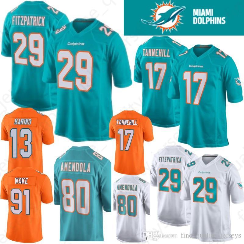 finest selection 0110d 2ecd8 17 Ryan Tannehill 29 Minkah Fitzpatrick Miami Jersey 13 Dan Marino Dolphins  80 Danny Amendola 91 Cameron Wake 21 Frank Gore 100% Stitched
