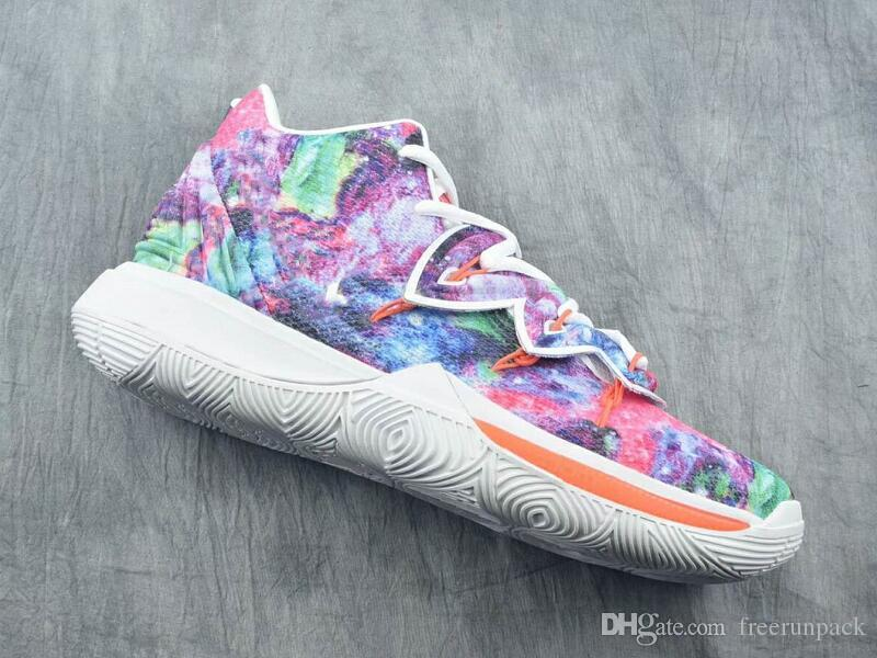 972fe351270d 2019 2019 New Fashion Kyrie 5 Tie Dyed White Green Pink Custom Sneakers  Latest Comfort V Floral Designer Basketball Shoes Best Quality With Box  From ...