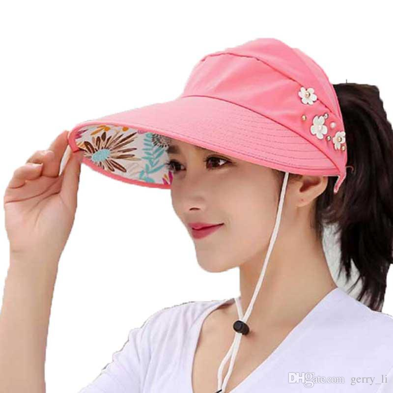 2d1e4dc95f3 Empty Top Sun Hats Women Summer 2019 Double Uv Protection Beach Visor Cap  Female Wide Brim Lady Casual Folding Cap Ponytail Crazy Hats Fishing Hat  From ...