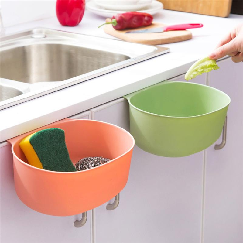 Useful Kitchen Cabinet Storage Rack With Hook Basket Holder For Cleaning Sponge Brush Soap Garbage Save Space House