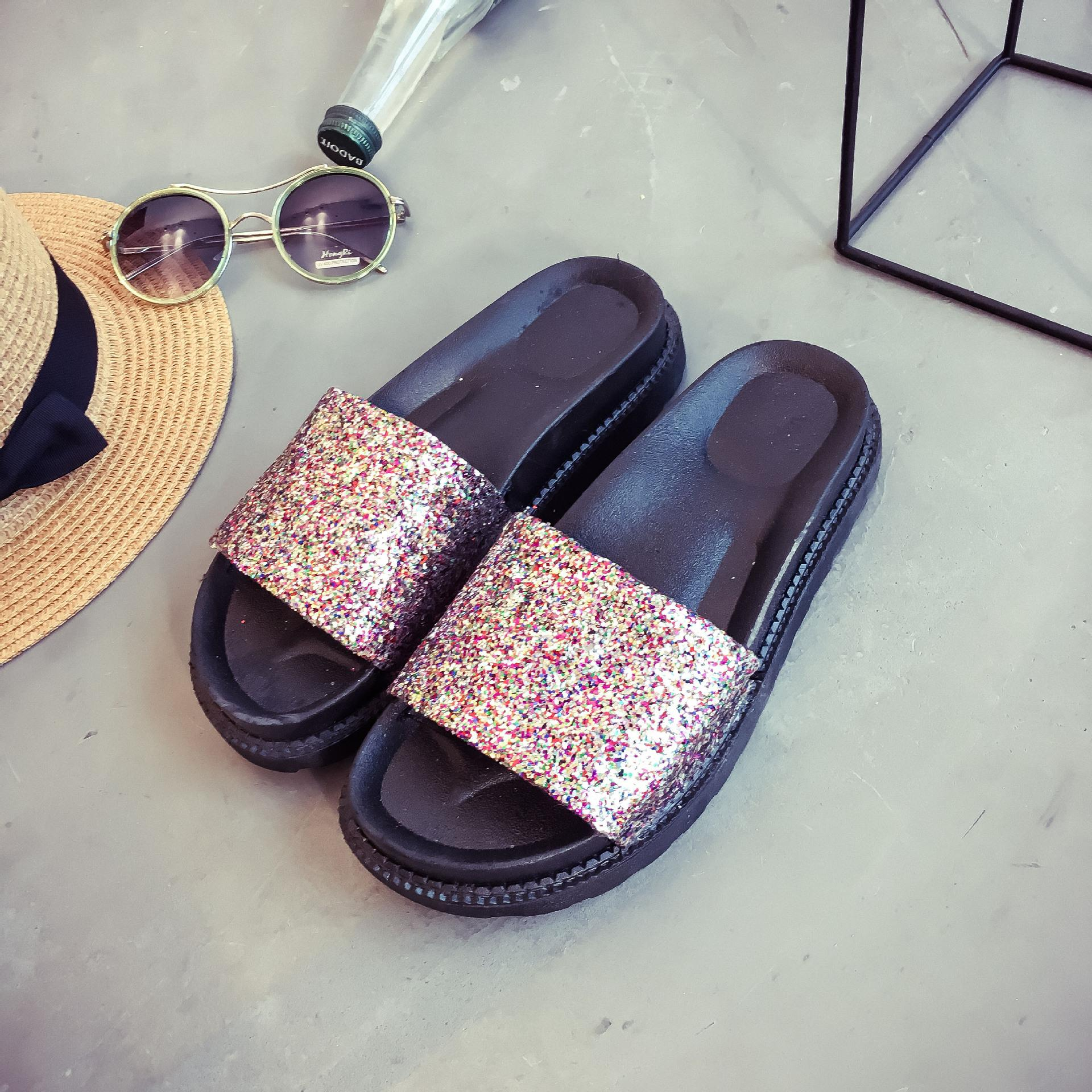 2b59a5e05 Slippers Women 2018 Summer New Korean Flat Bottom Fashion Flip Flop Thick  Soled Sequins Cool Comfortable Muffin Bottom Word Drag Western Boots  Discount ...
