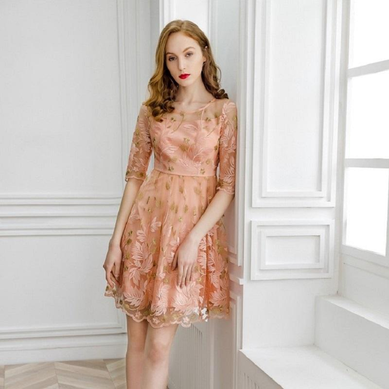 efdc8fc3fc8 Office Work Embroidery Dress 2019 New High Quality Spring Summer Slim  Flowers Cute Dress S Xl Women Clothing Sweet Party Dresses White Dress  Party Dresses ...