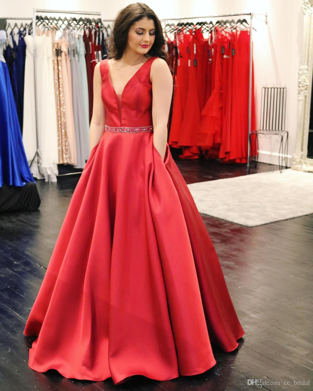 Bright Red A Line Prom Dresses 2019 Luxury Satin Crystal Dress