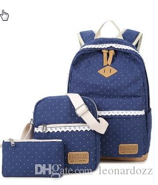 Korean Version Of Leisure Backpack Female Canvas Wave Point School Bag  Multi Functional Three Pieces Of Child And Mother Bags Travel Backpac  Toddler ... 7cefb983944f6