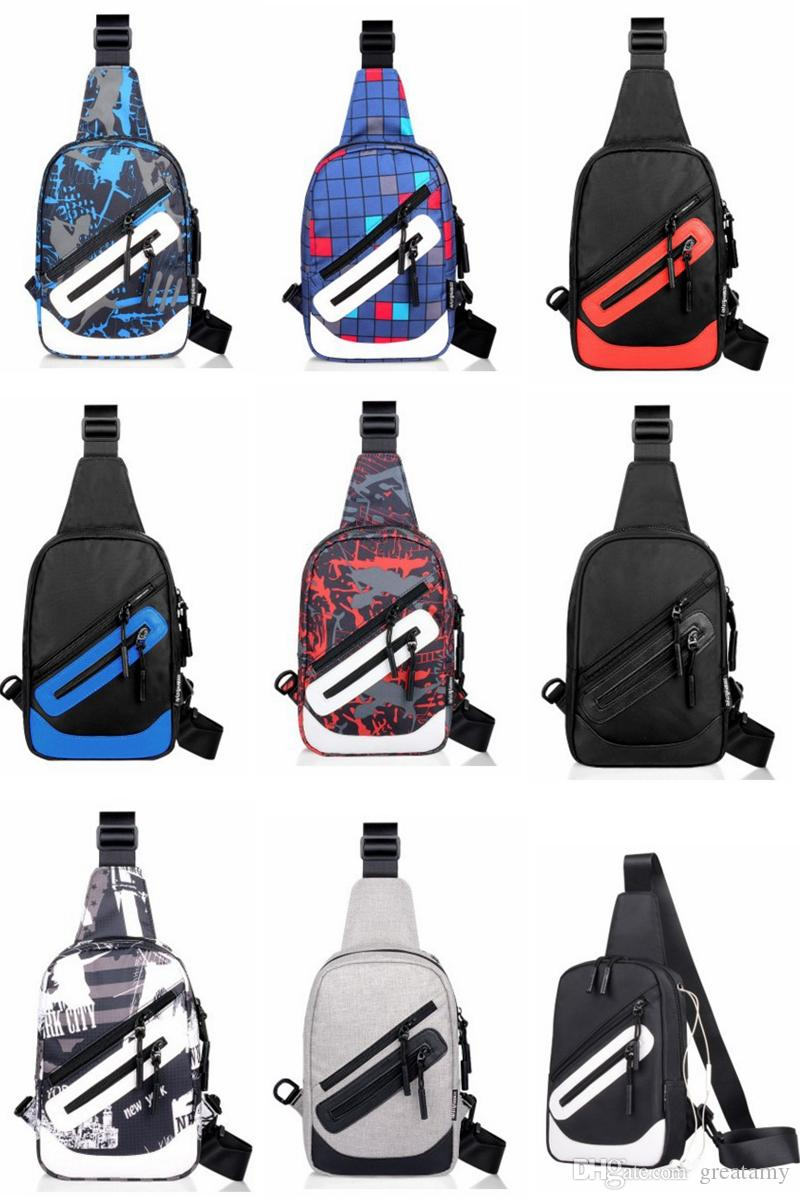 Boys Outdoor Sports Fashion oxford Chest Packbag Adjustable Shoulder Strap Bags grid graffiti men Bags 9 styles student bag