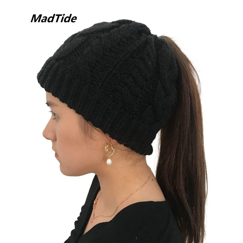 048fd67b4fd Women S Girls Stretch Knitted Wool Crochet Hats Caps Messy Bun Ponytail  Beanie Holey Warm Hat Winter Warm Cap Beanies C18122501 Slouchy Beanie  Skull Cap ...