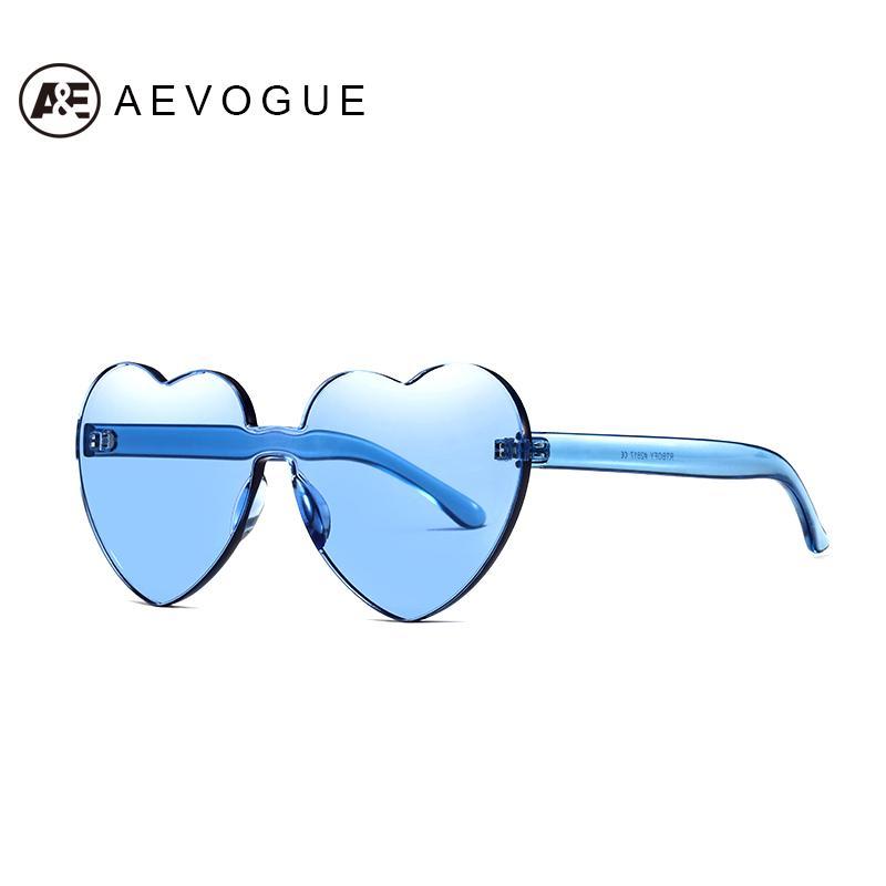 36fa56a617 Compre AEVOGUE Gafas De Sol Para Mujer 2019 Nueva Moda Color Caramelo  Transparente Corazón Diseñador De La Marca Sin Bordes Amor Gafas De Sol  AE0618 A ...