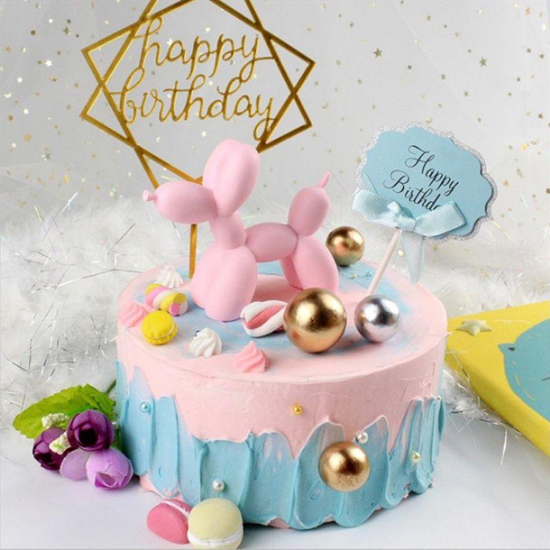 Hot 1PC Balloon Dog Birthday Cake Decoration Happy Birthday Party  Decoration Cake Craft Inflatable Balloons Supplies