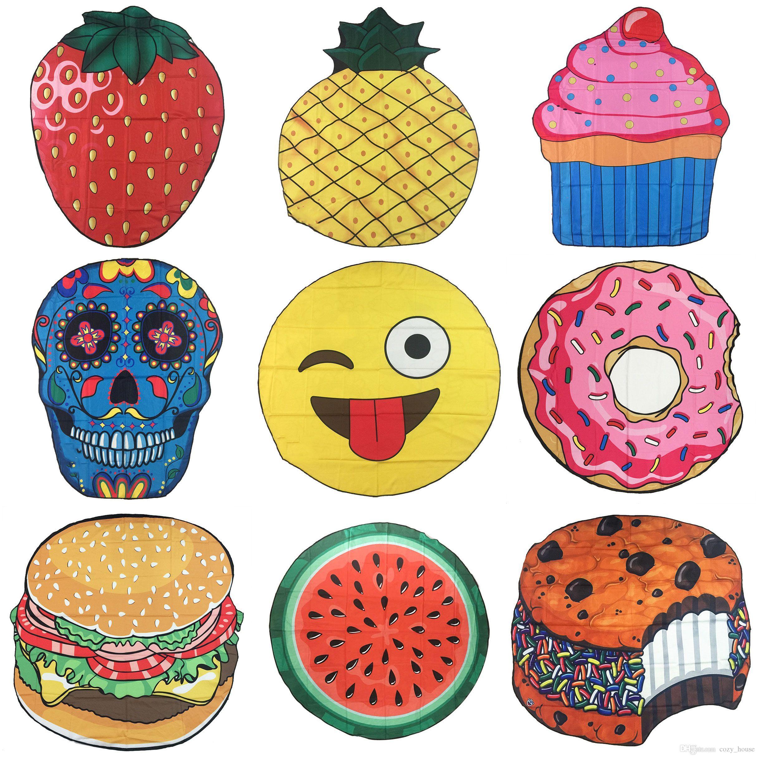 Round Printed Emoji Fruits Beach Towels Skull Doughnut Hamberger Seaside  Towel Shawl BBQ Mats Beach Mat