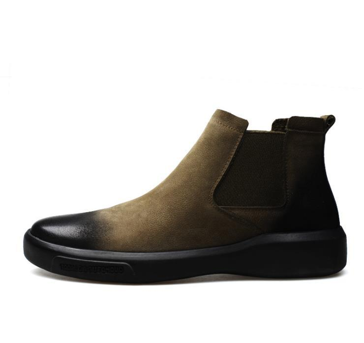 74036669e Compre Marca Martin Botas De Cuero Para Hombre 2019 Nuevas Botas De Moda  Casual Para Hombre En Los Zapatos De Suela Gruesa Chelsea A  75.13 Del  Serady ...