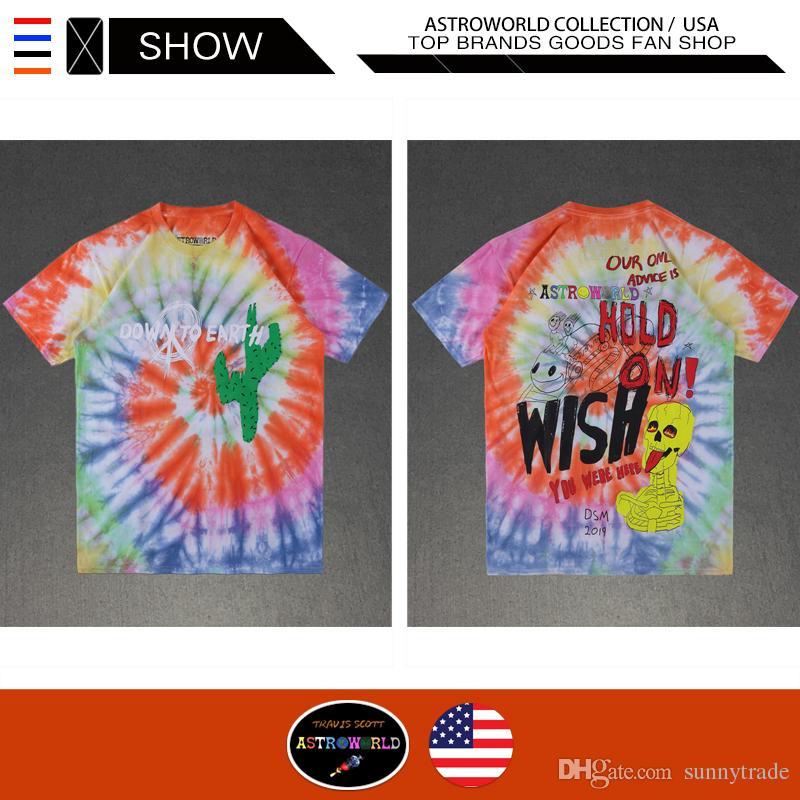 c3ff54a96a30 Travis Scott Astroworld Designer Hip Hop T Shirts Casual Street Wear Tie  Dyeing High Street TRAVIS SCOTT ASTROWORLD DSM DOWN TO EARTH TEE Long  Sleeve T ...