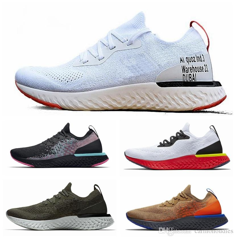5828a8faa3fb 2019 Epic React Mens Womens Running Shoes Black White Blue Instant ...