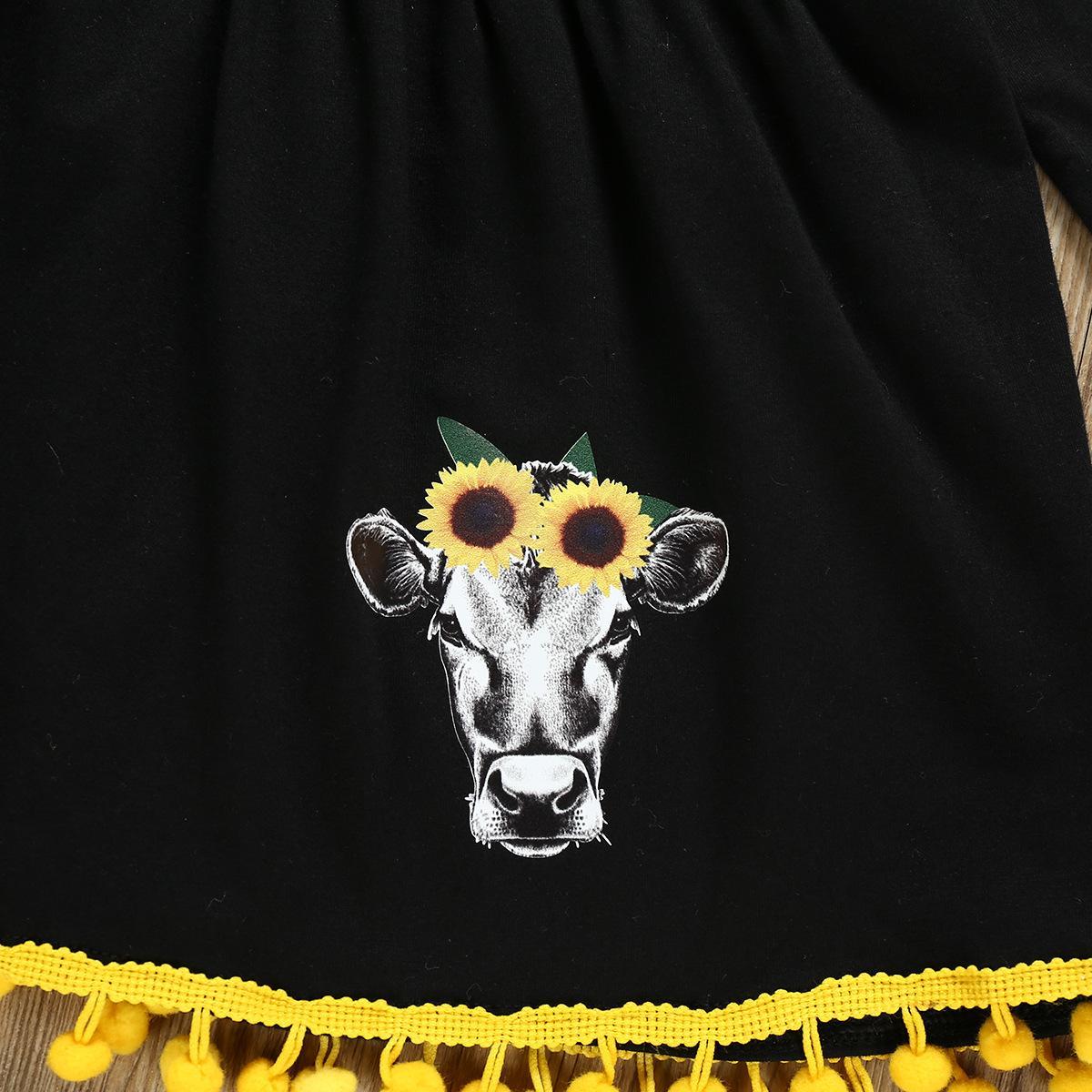 Малыш Дети Baby Girl осень Эпикировка с длинным рукавом платье + подсолнуха Брюки Tousers + оголовье 3шт одежды Set