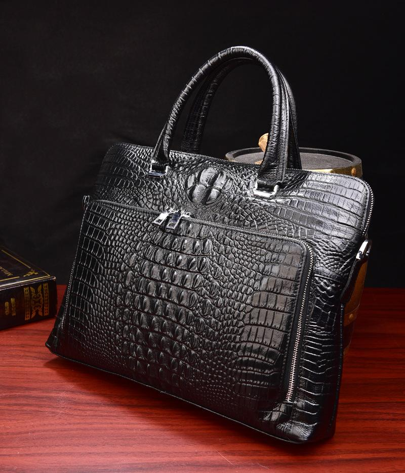 2ab86b82a06 2019 New Luxury 100% Cow Genuine Leather Business Men'S Briefcase Male  Shoulder Bag Real Leather Men Alligator Tote Computer Bag Attache Case  Leather Goods ...