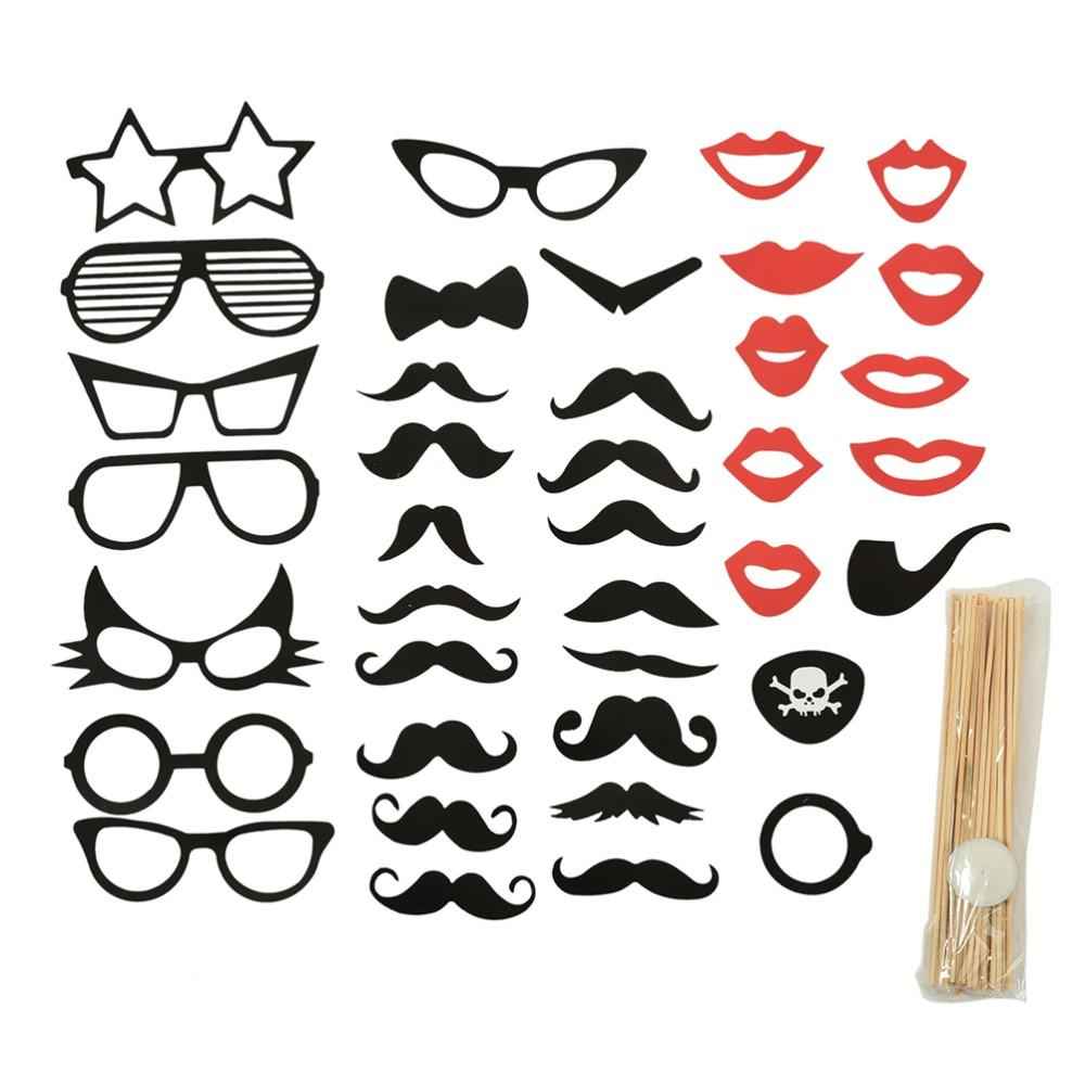 Fun Booth Props Glasses Mustache Lip Wedding Party Decoration Birthday Christmas New Year Event Favors