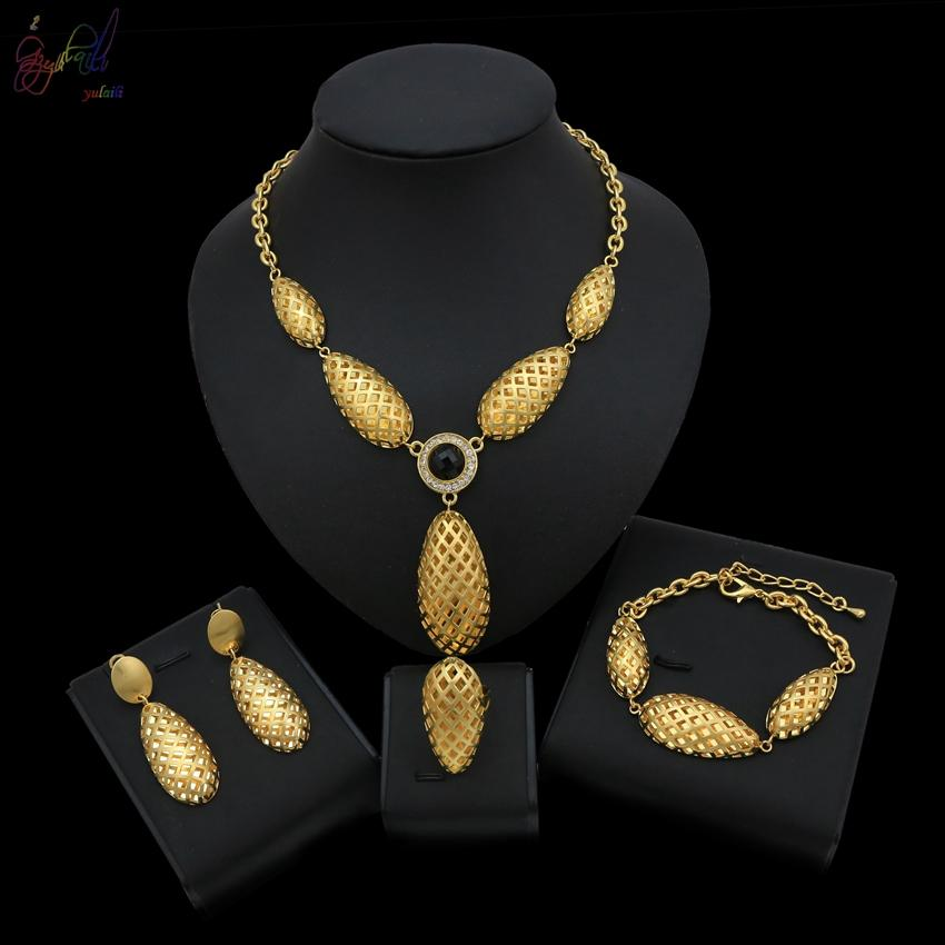 Yulail African Beads Jewelry Set Hollow Water Drop Shape Jewelry Sets Suitable For Wedding Party Occasion