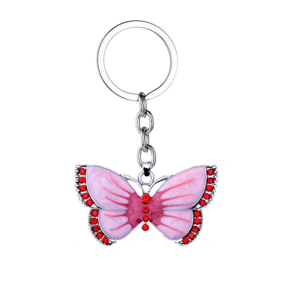 0fa9c5a0232 12PC/Lot Vintage Boho Enamel Crystal Pink Butterfly Pendants Keychain  Animal Women Girls Gifts Keyring Jewelry Charm Key Chains