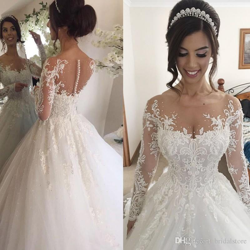 Long Sleeve Princess Wedding Dresses Beaded Arabic Dubai Wedding Dress Scoop Button Back Appliques Bridal Gowns Vintage vestido de novia