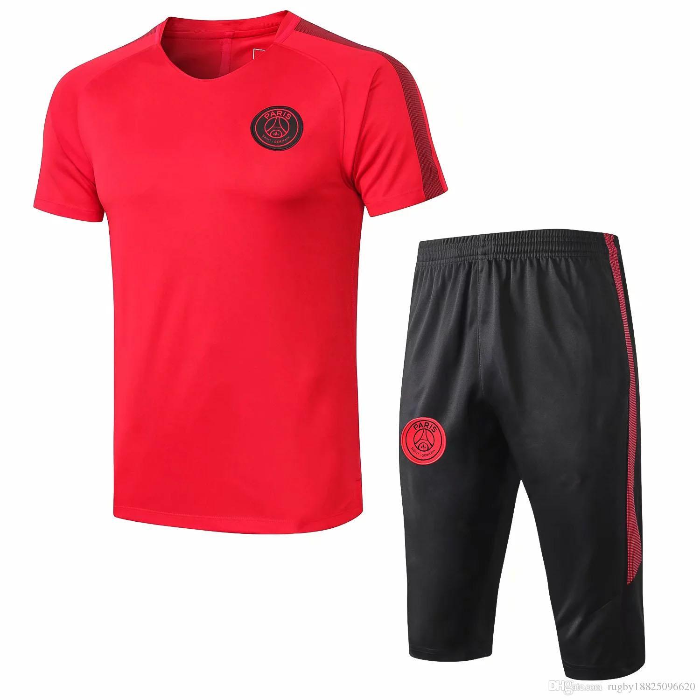 buy popular 70d65 7a9a5 Top New PSG Jordam Champions League shrot sleeve tracksuit kit MBAPPE  football shirt CAVANI training suit VERRATTI jerseys maillot de foot