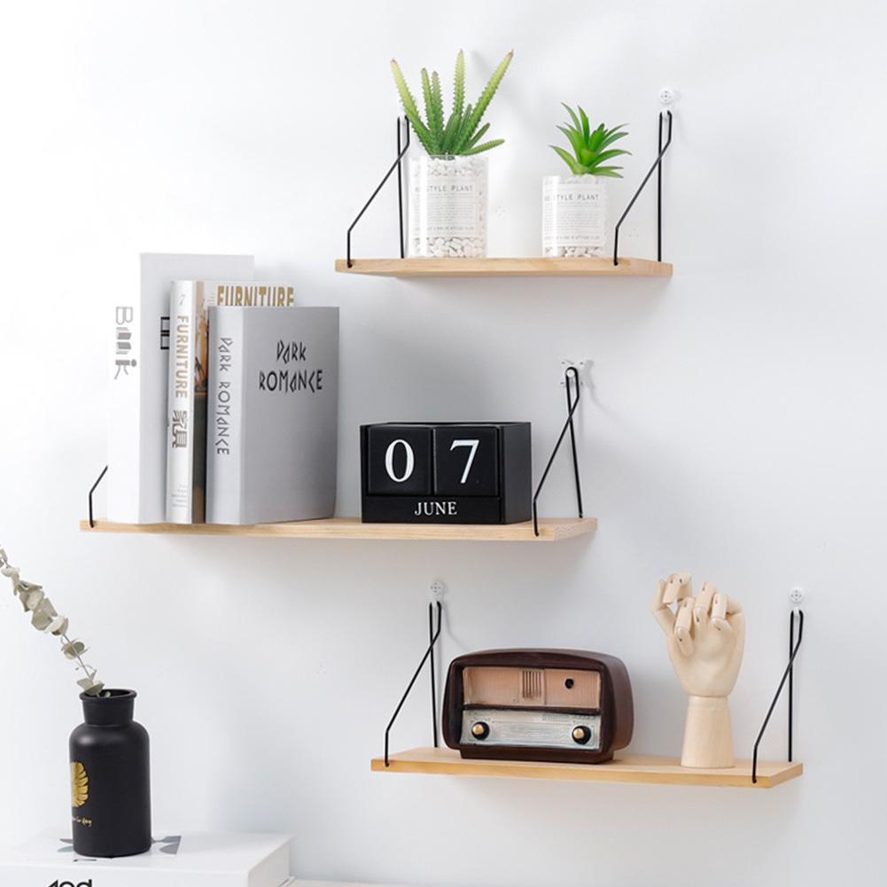 2019 Solid Wooden Wall Shelf Iron Partition Board Bedroom Tv Hanging Storage Rack For Home Living Room Decoration From Tanguimei6