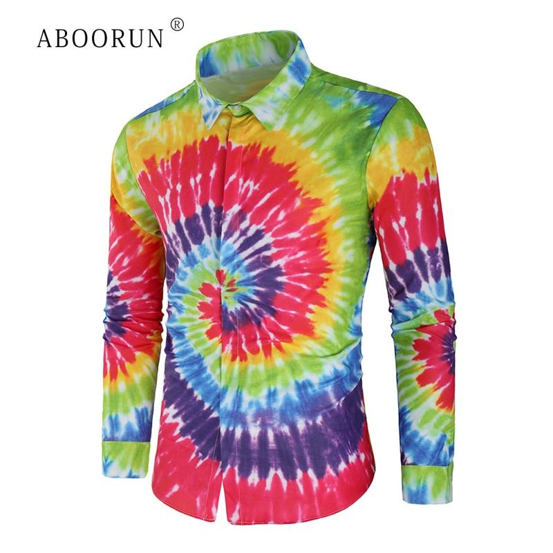 2019 Aboorun Men S Fashion 3d Printed Shirts Tie Dye Long Sleeve