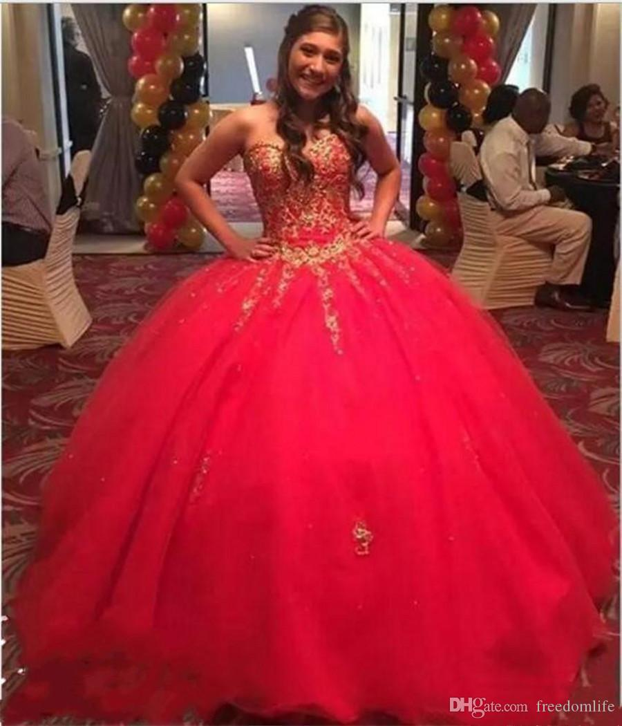 3428ca459f 2019 Red Sweet 16 Dresses Ball Gown Quinceanera Dress Gold Appliques Girl  Party Sweetheart Formal Prom Evening Gowns Sweet 16 Dresses Quinceanera  Dresses ...