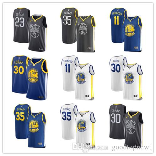 reputable site 7f8a2 08df3 Golden State Klay Thompson Draymond Green Warriors Fanatics Branded Fast  Break Replica basketball Jersey Charcoal Statement Edition