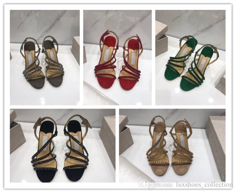 Top da donna scarpe importate pelle bovina buon materiale ornamento diamante luminoso Sandali con tacco alto da donna