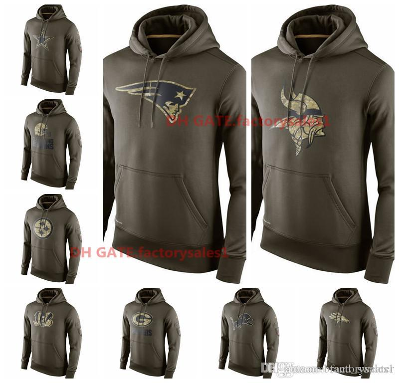 online retailer 67901 f8c63 Mens Bengals Cleveland Browns Dallas Cowboys Denver Broncos Detroit Lions  Green Bay Packers Olive Salute To Service KO Performance Hoodies