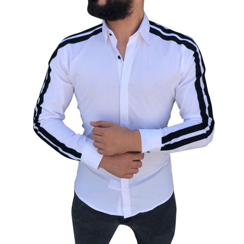 Compre Moda Masculina Primavera Outono Camisas Casual Manga Comprida Slim  Fit Camisas New Arrival Lados Listrado Camisa Masculina M 2XL Adisputent De  ... 37910e4e03b59