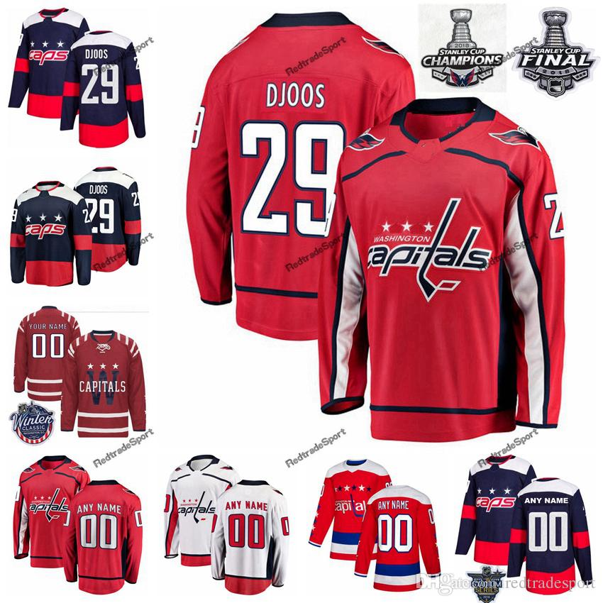 official photos 189d7 210e6 2018 Stanley Cup Final Washington Capitals Christian Djoos Hockey Jerseys  29 Christian Djoos Stitched Jersey Mens Custom name number Shirts