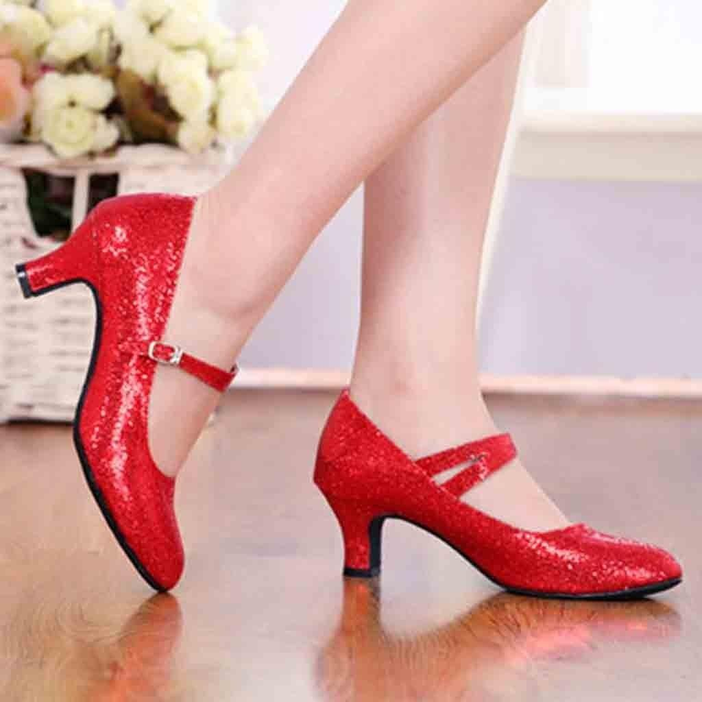 3c6ec1f1a53 Designer Dress Shoes Woman Heel Block Heel Red Silver Sequin Ladies Wedding  Party Dress Luxury Women Designers #xtn