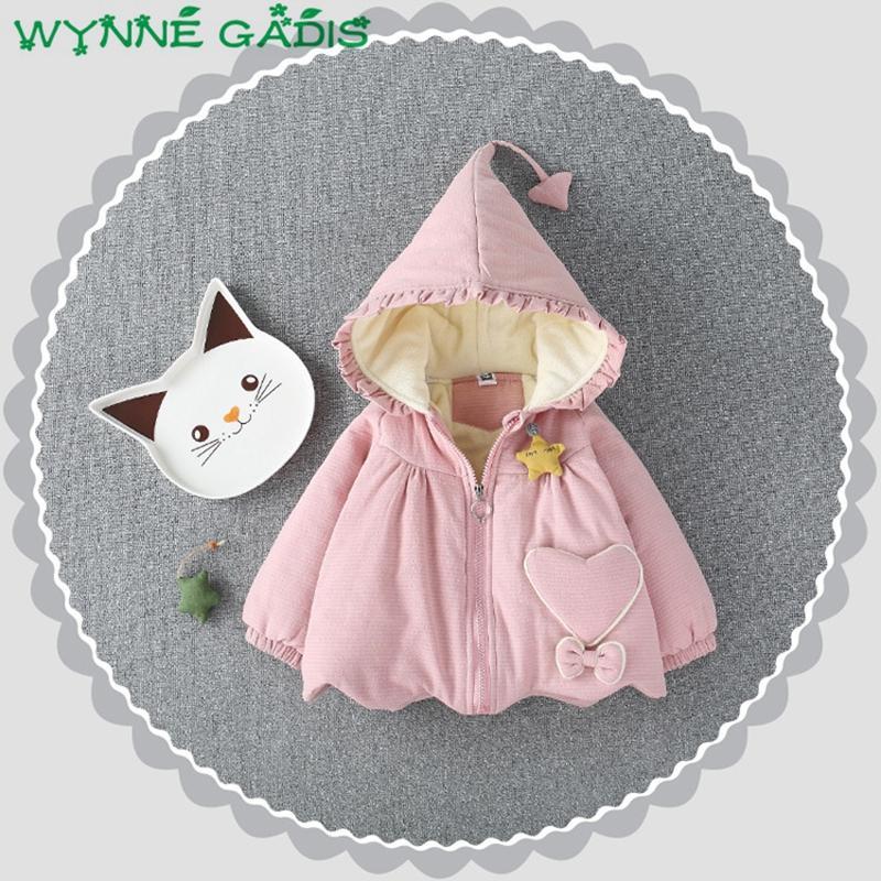 9e55fbb0fd18 Winter Baby Girls Thick Fleece Warm Hooded Heart Pockets Snow Wear ...